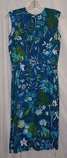 1960's Vtg Retro Original LAMPL Floral Dress Blue Flowers Women's Medium