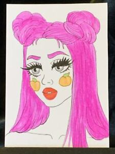 Original ACEO Peachy Mood Medium Black Ink Marker on Paper Signed by Artist