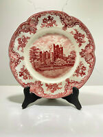 """Johnson Bros Old Britain Castles England Pink Red Dinner Plate 10"""" Crown mark"""