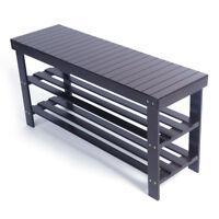 3 Tier Bamboo Shoe Rack Bench Storage Seat Organizer Shelf Entryway Hallway Home