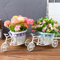 Rattan Flower Basket Vase Tricycle Bicycle Model Home Garden Wedding Decoration