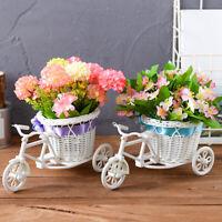 JN_ Rattan Flower Basket Vase Tricycle Bicycle Model Home Garden Wedding Decor