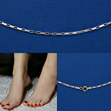 028 .925 Solid Sterling Silver Anklet Bracelet Sale 9 in. Long Box Style Chain