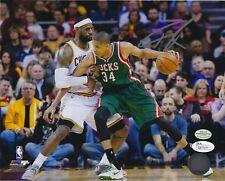 Giannis Antetokounmpo autograph 8x10 signed photo vs. LeBron James auto JSA COA