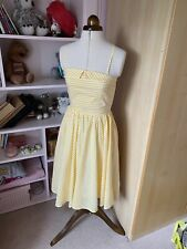 Candy Stripe Pin Up 50's Style Vintage Rockabilly Summer Dress Size 8 XS Yellow