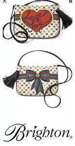 Brighton Love and Joy Tassel Crossbody Pouch Shoulder Bag Purse Canvas New
