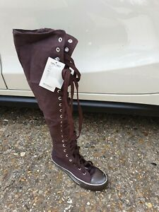 Chocolate Brown Over the Knee High Lace Up Converse Style Goth Boots Size UK 3.5