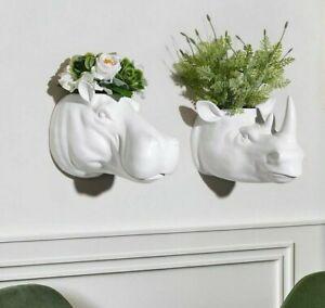 Rhino Animal Head Wall Mounted Flower Pot Crafts Living Room Entrance Decoration