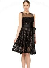 10 TADASHI SHOJI Black Paillette Embroidered Tulle Party Dress NWT $329 LBD