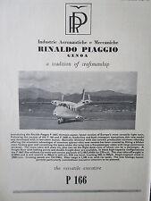 4/1965 PUB PIAGGIO P.166C PORTOFINO ITALIAN AIRCRAFT AVION FLUGZEUG ORIGINAL AD