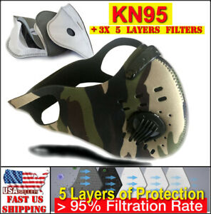 Neoprene Sport Face Mask with 3X PREMIUM Filters Activated Carbon Antimicrobial