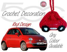 Handmade Crochet Fiat 500 Mirror Hanging Decorations Accessories - Red Design