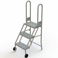 3-Step Mobile Foldable Step Stand w/Steps Gry 30inH Top Step 16in Step Width