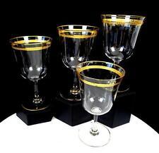 "ELEGANT GLASS GOLD LAUREL BAND AND TRIM 4 PIECE 6"" WINE GLASSES"