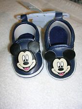 Mickey Mouse Boys Or Girls Navy Soft Sole Crib Shoes Size 3 - 6 Months Nwt