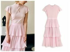 AUTH Ted Baker Tiered Pleated Midi Dress Pink 0-5