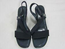 Italian Shoemakers Ladies Black Slides Sandals Wedges Size 10
