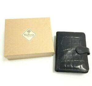 Mulberry Psion Case Black Leather Mock Croc Bifold Pen Loops Card Slots 491944