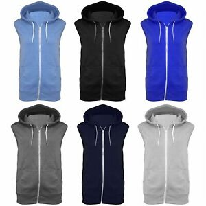 New Boys Plain Gilet Hoodie Zipper Sleeveless Jacket 7-13 Years