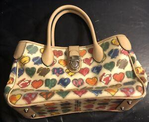 DOONEY & BOURKE, UNIQUE Graffiti Heart Print  Handbag Purse WHITE/TAN/MULTI