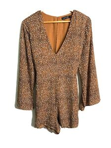 Glassons Long Flare Sleeve Animal Print Leopard V Neck Playsuit Puff Sleeve - 12