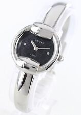 GUCCI BLACK SILVER BANGLE BRACELET WATCH YA014511 NEW $750