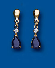 Unique Wishlist 9ct Yellow Gold Sapphire Pear & Clear Stone Drops *AP6850