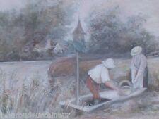 Peinture fin 19s debut 20s gouache femme lavant le linge