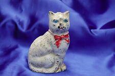 Antique iron Hubley white cat w blue eyes iron Bank over one pound Classic *