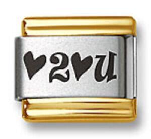 Italian Charm Bracelet Link Laser Heart 2 Heart U Gold Trim Stainless Steel Love