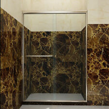 "SUNNY SHOWER Sliding Bypass Shower Doors 48"" Semi-Frameless Glass Brushed Nickel"