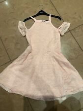 Girls New Look Age 11 Years Coral Lace Cold Shoulder Skater Dress Party