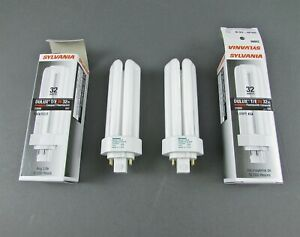 Lot of 2 Sylvania 20886 CF32DT/E/IN/841/ECO CFL Bulbs - 32W, 4 Pin, GX24q-3 Base