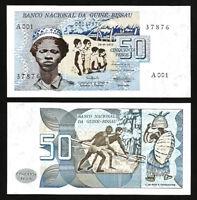 Guinea Bissau 50 Pesos 1975, UNC, P-1a, First Banknote, Prefix A 001