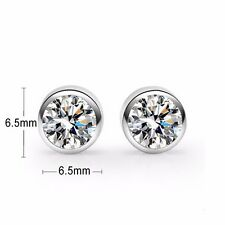 925 Sterling Silver earring CZ Cubic Zirconia clear crystal DLE68