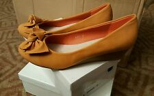 "TOP OR Orange Faux Suede 4"" Heel Ladies Shoes - Size UK 5 EU 38"