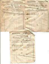 Bègles (33)3 Petites factures années 20. Boucherie Blard.18 Rue de la République