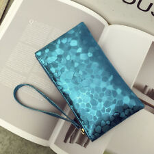 CLUTCH BAG PURSE BLUE WITH WRIST STRAP LINED INTERIOR