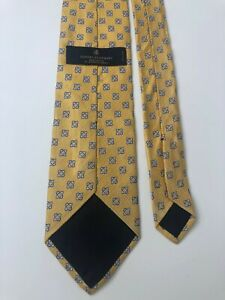 Brooks Brothers Makers Mens Necktie Tie Yellow Blue Floral Silk