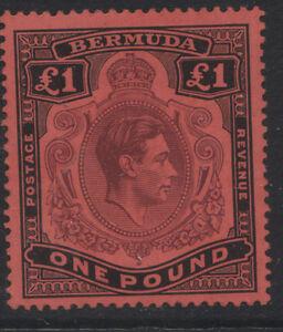 BERMUDA - 1938 GVI £1 PURPLE & BLACK/RED FINE MINT SG.121 CAT.£275 (REF. A27)