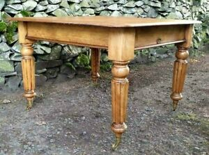 Table Victorian Antique 1890 Pine Legs Mahogany Top Brass Casters Made England