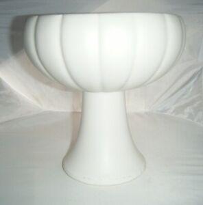 "Floraline USA 464 McCoy Pottery Pedestal Bowl / Planter 7.5"" White Pumpkin Shape"