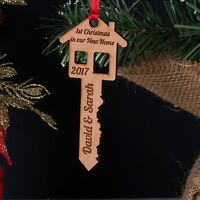 Personalised First 1st Christmas Our, Your New Home Key Wooden Tree Decoration