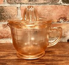 Pink Glass Art Deco Juicer & 2 Cup Measuring Cup