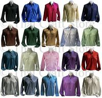 Mens Thai Silk Dress Shirt S M L XL 2XL 3XL Long Sleeve 20 Colors Casual Formal
