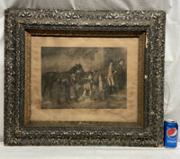 Vtg Antique Victorian Wood Chalk Frame Chas Steele TWIXT LOVE & DUTY Horse Print