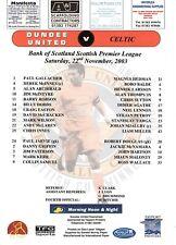 Teamsheet - Dundee United v Celtic 2003/4
