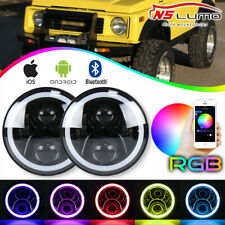 LED 7 Inch Headlight Bluetooth RGB Halo Lamp For Jeep JK TJ Suzuki Samurai SJ410