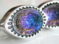FLASHY VINTAGE MID CENTURY HICKOK CUFFLINKS WITH IRIDESCENT LAVA VOLCANO GLASS