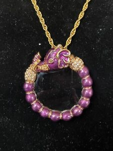 Kenneth Jay Lane Purple Elephant Magnifying Glass Necklace Vintage
